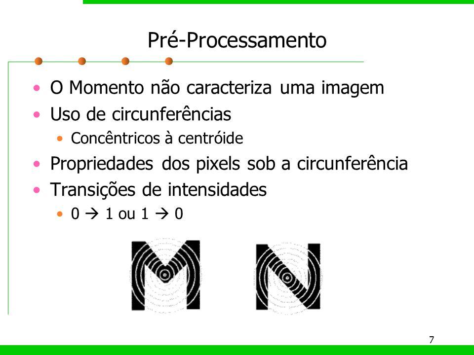 7 Pré-Processamento O Momento não caracteriza uma imagem Uso de circunferências Concêntricos à centróide Propriedades dos pixels sob a circunferência