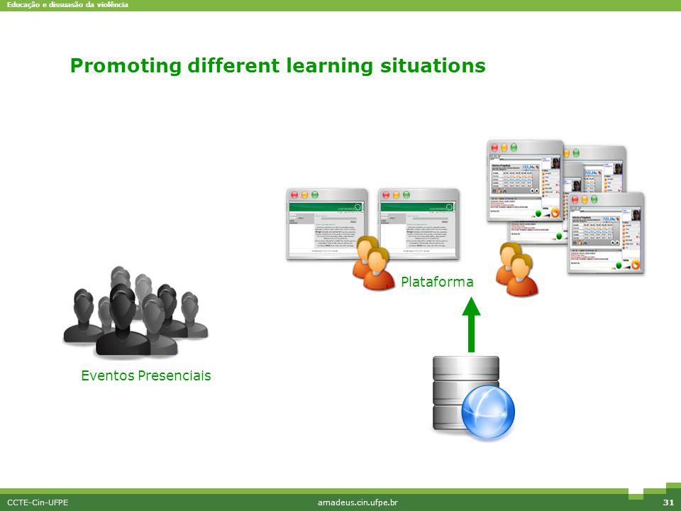 Educação e dissuasão da violência CCTE-Cin-UFPEamadeus.cin.ufpe.br31 Promoting different learning situations Eventos Presenciais Plataforma