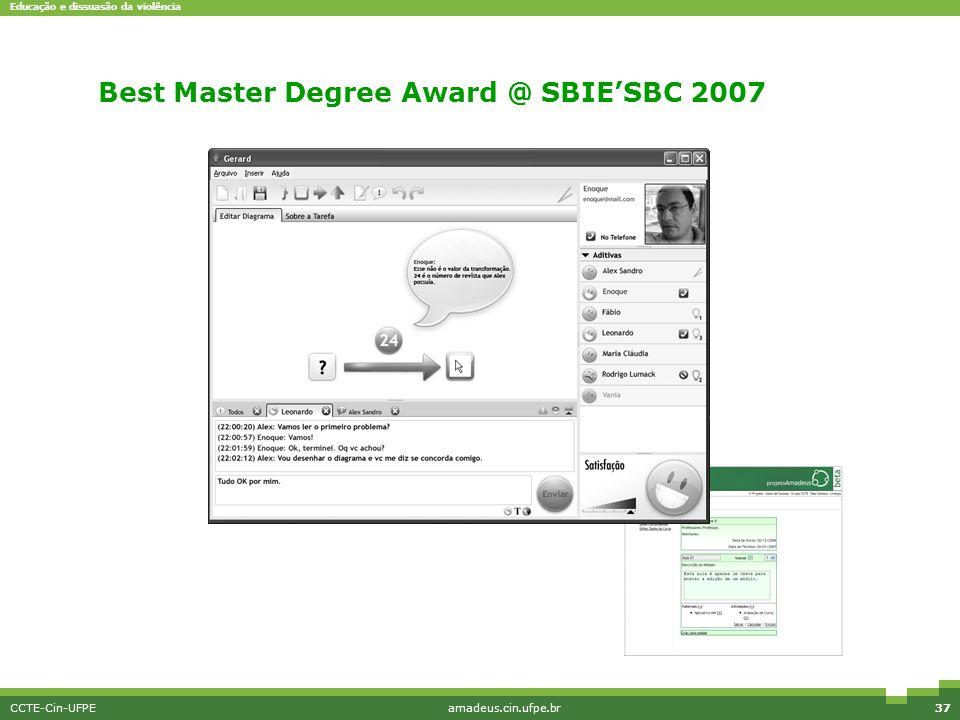 Educação e dissuasão da violência CCTE-Cin-UFPEamadeus.cin.ufpe.br37 MicroMundos Best Master Degree Award @ SBIE'SBC 2007