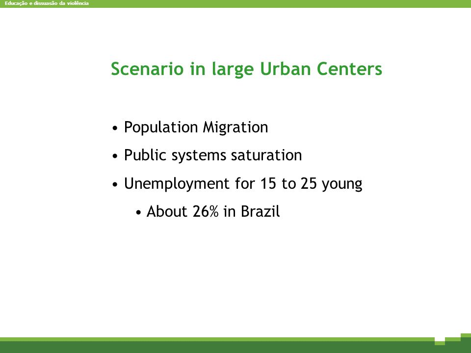 Educação e dissuasão da violência Scenario in large Urban Centers Population Migration Public systems saturation Unemployment for 15 to 25 young About 26% in Brazil