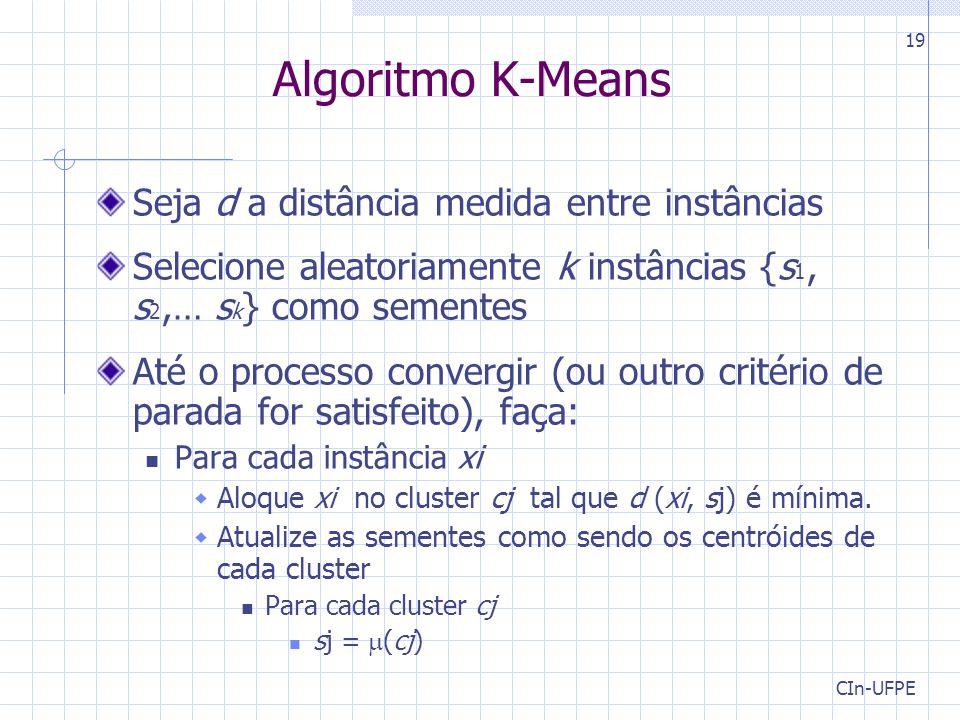 CIn-UFPE 19 Algoritmo K-Means Seja d a distância medida entre instâncias Selecione aleatoriamente k instâncias {s 1, s 2,… s k } como sementes Até o processo convergir (ou outro critério de parada for satisfeito), faça: Para cada instância xi  Aloque xi no cluster cj tal que d (xi, sj) é mínima.