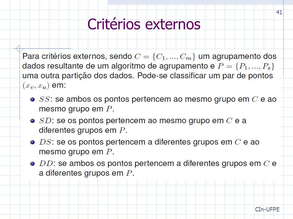 CIn-UFPE 41 Critérios externos