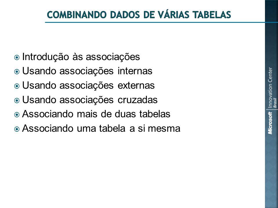  Introdução às associações  Usando associações internas  Usando associações externas  Usando associações cruzadas  Associando mais de duas tabelas  Associando uma tabela a si mesma