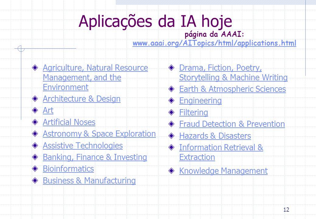 11 Aplicações da IA: interfaces amigáveis Como dar ao usuário a ajudar de que ele precisa.
