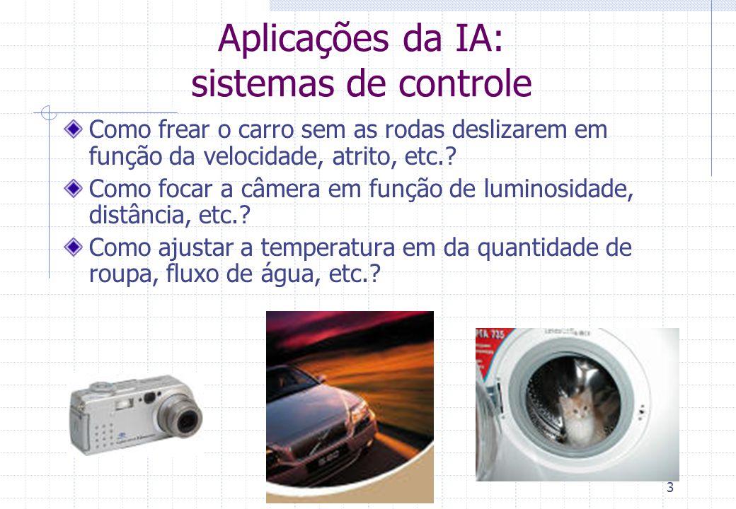 2 Aplicações da IA: automação de sistemas complexos Como modelar os componentes do sistema e dar-lhes autonomia? Como assegurar boa comunicação e coor