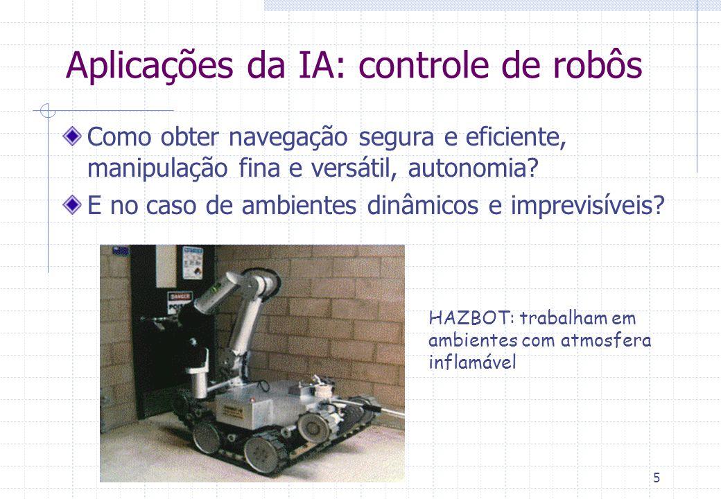 5 HAZBOT: trabalham em ambientes com atmosfera inflamável Aplicações da IA: controle de robôs Como obter navegação segura e eficiente, manipulação fina e versátil, autonomia.