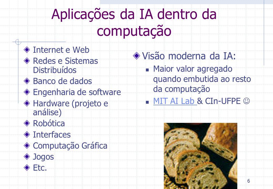 6 Aplicações da IA dentro da computação Internet e Web Redes e Sistemas Distribuídos Banco de dados Engenharia de software Hardware (projeto e análise) Robótica Interfaces Computação Gráfica Jogos Etc.