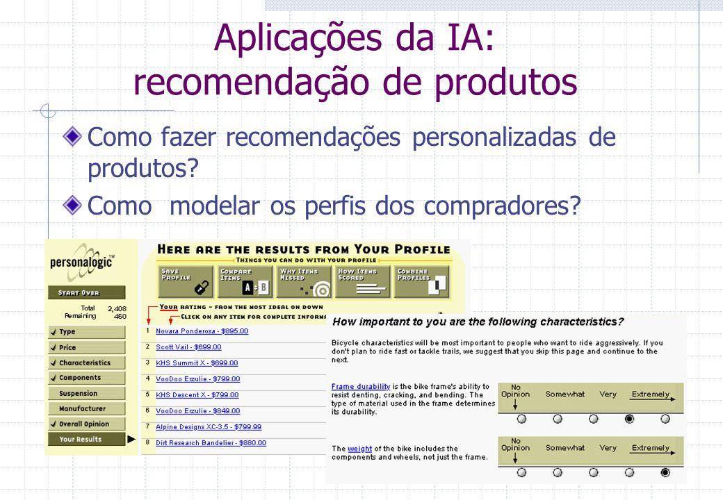 18 Definições da IA tarefas Realiza tarefas  Para qual não existe algoritmo conhecido ou prático  No entanto efetuada com alto desempenho por humanos técnicas Utiliza técnicas desenvolvidas em pesquisas de IA  Algum problema a resolver.