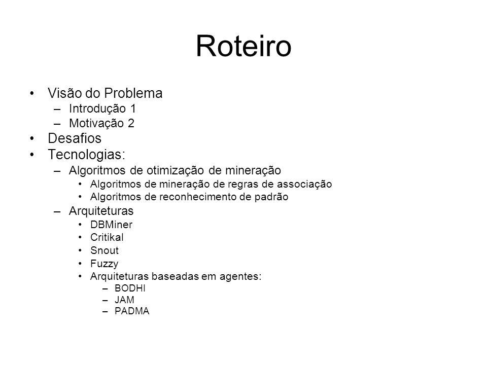 Roteiro Visão do Problema –Introdução 1 –Motivação 2 Desafios Tecnologias: –Algoritmos de otimização de mineração Algoritmos de mineração de regras de