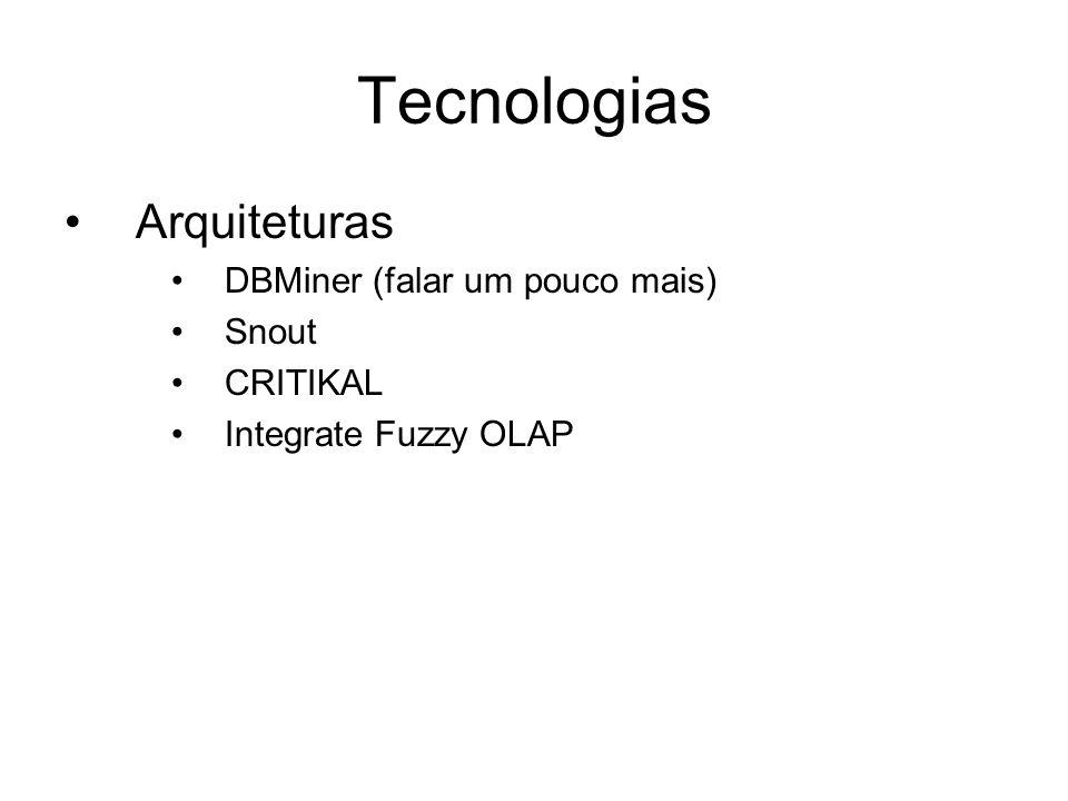 Tecnologias Arquiteturas DBMiner (falar um pouco mais) Snout CRITIKAL Integrate Fuzzy OLAP
