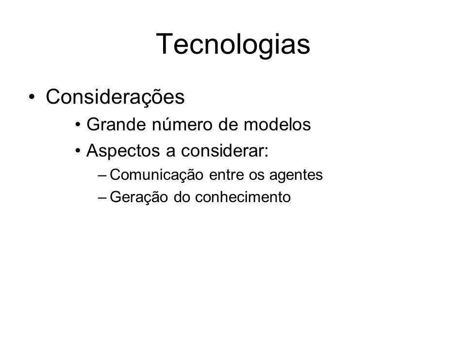 Tecnologias Considerações Grande número de modelos Aspectos a considerar: –Comunicação entre os agentes –Geração do conhecimento