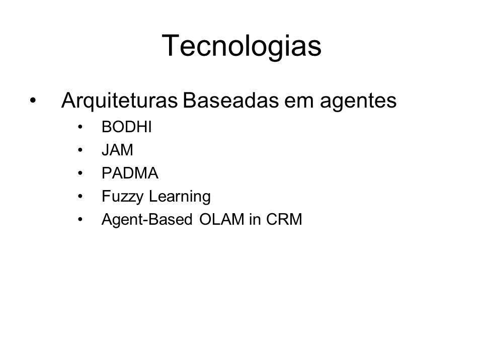 Tecnologias Arquiteturas Baseadas em agentes BODHI JAM PADMA Fuzzy Learning Agent-Based OLAM in CRM