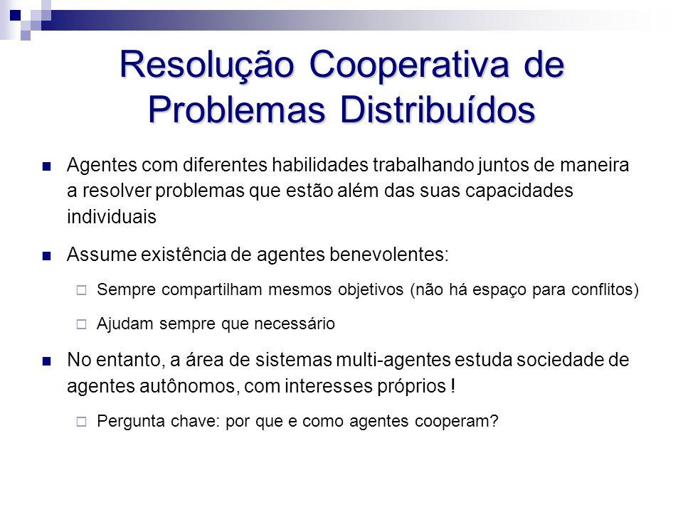 Resolução Cooperativa de Problemas Distribuídos Agentes com diferentes habilidades trabalhando juntos de maneira a resolver problemas que estão além d