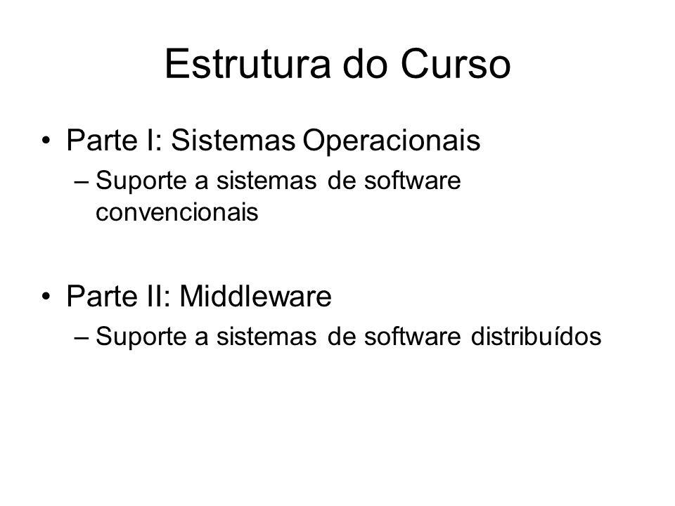 Estrutura do Curso Parte I: Sistemas Operacionais –Suporte a sistemas de software convencionais Parte II: Middleware –Suporte a sistemas de software d