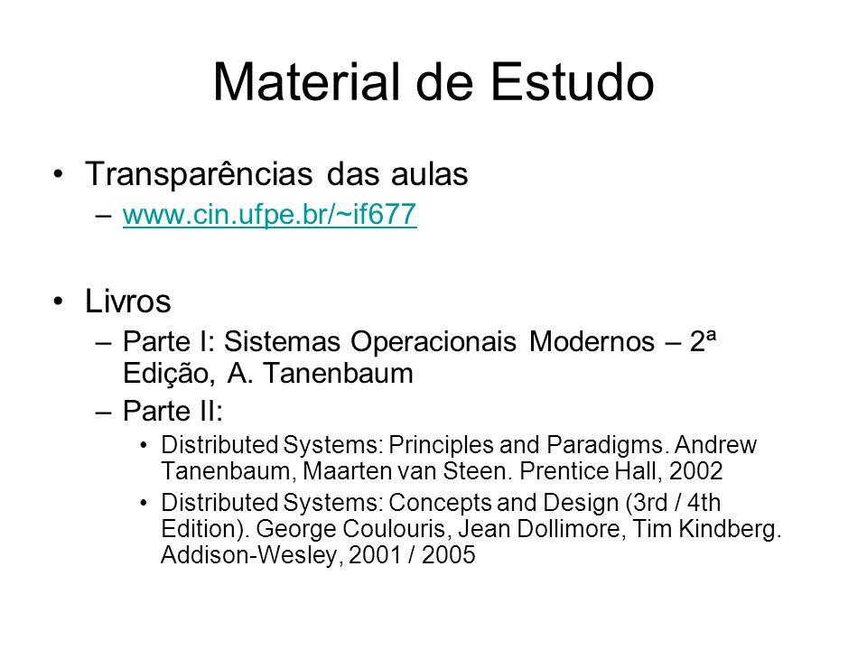 Material de Estudo Transparências das aulas –www.cin.ufpe.br/~if677www.cin.ufpe.br/~if677 Livros –Parte I: Sistemas Operacionais Modernos – 2ª Edição,