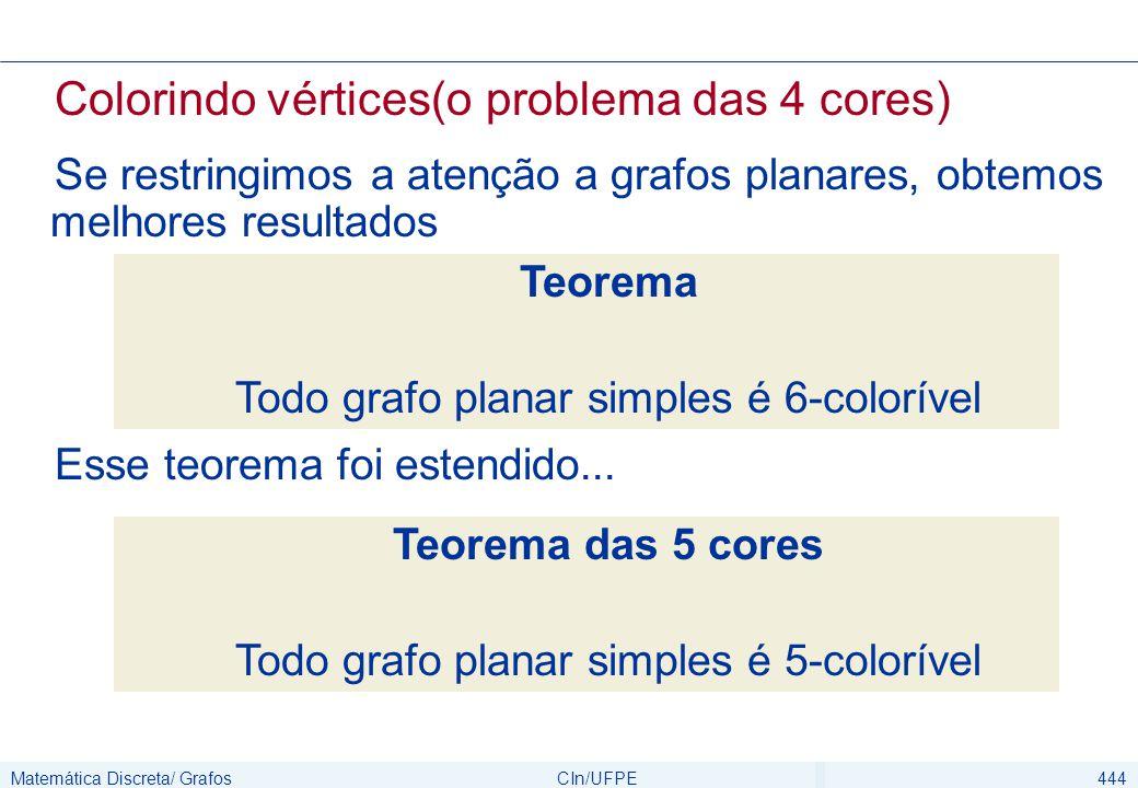 Matemática Discreta/ GrafosCIn/UFPE444 Colorindo vértices(o problema das 4 cores) Se restringimos a atenção a grafos planares, obtemos melhores result