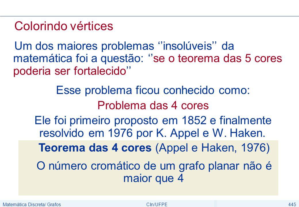 Matemática Discreta/ GrafosCIn/UFPE445 Colorindo vértices Um dos maiores problemas ''insolúveis'' da matemática foi a questão: ''se o teorema das 5 co