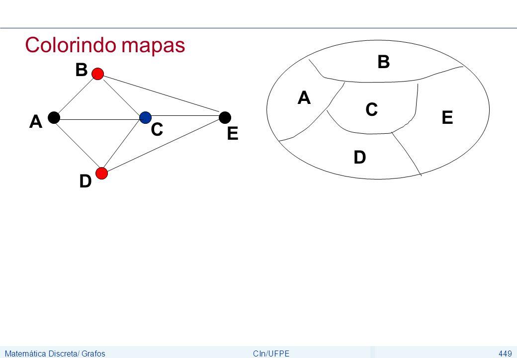 Matemática Discreta/ GrafosCIn/UFPE449 Colorindo mapas C A B E D C A B D E