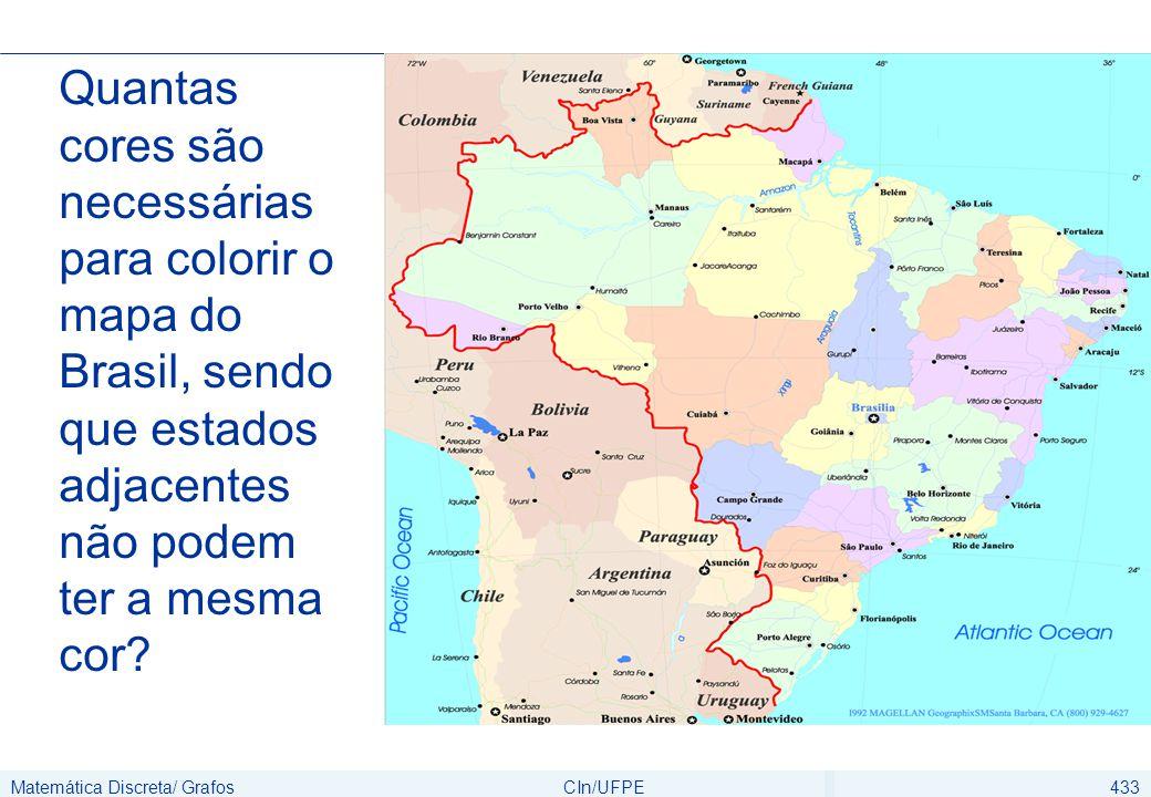 Matemática Discreta/ GrafosCIn/UFPE434 Colorir vértices de forma que vértices adjacentes possuam cores diferentes Relacionar a coloração de vértices com a coloração de mapas Coloração de Grafos