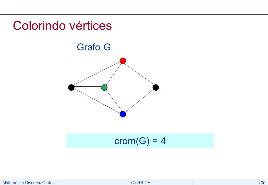 Matemática Discreta/ GrafosCIn/UFPE437 Colorindo vértices Podemos assumir que todos os grafos, para fins de coloração, são simples e conectados, já que arestas múltiplas e vértices isolados são irrelevantes para coloração de vértices