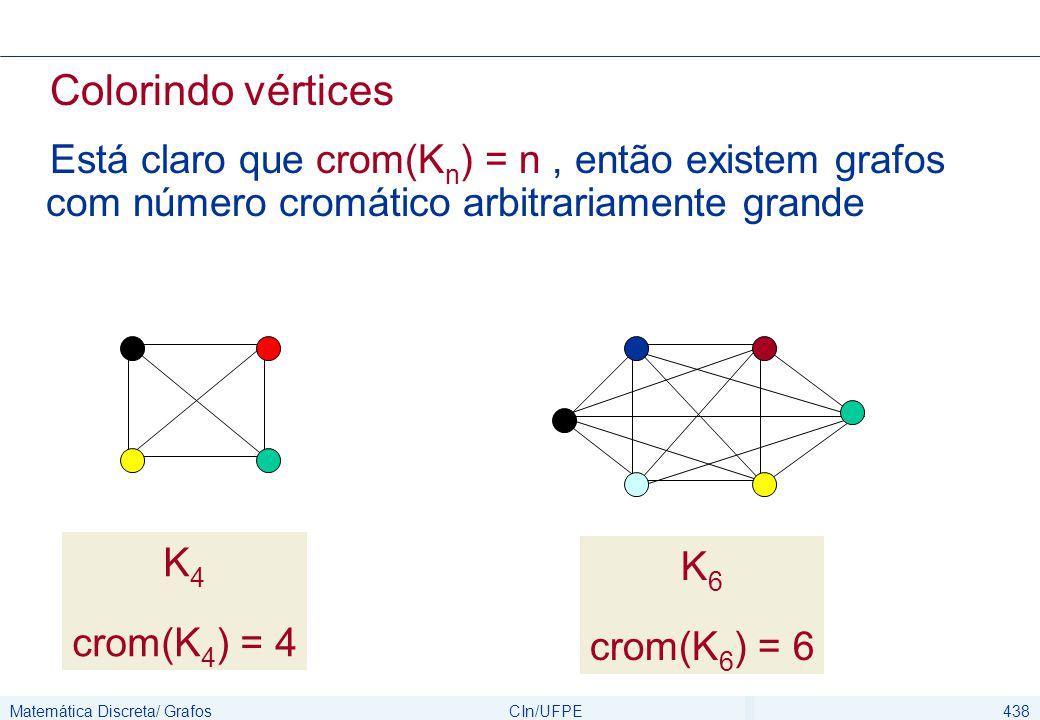 Matemática Discreta/ GrafosCIn/UFPE438 Colorindo vértices Está claro que crom(K n ) = n, então existem grafos com número cromático arbitrariamente gra