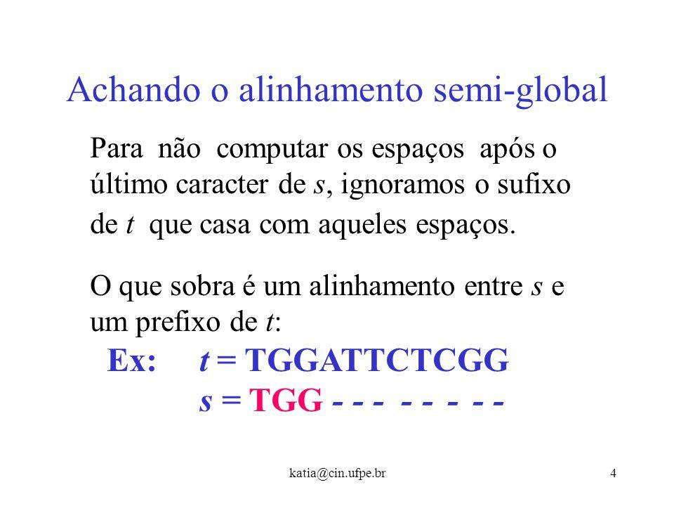 katia@cin.ufpe.br3 Alinhamento Semi-global CAGCA - CTTGGATTCTCGG - - - CAGCGTGG - - - - - - - - (-19) Nem sempre é o melhor alinhamento global entre a
