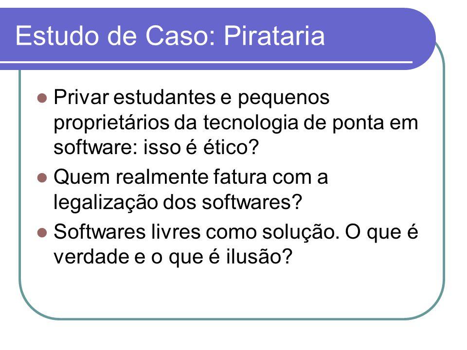 Estudo de Caso: Pirataria Privar estudantes e pequenos proprietários da tecnologia de ponta em software: isso é ético? Quem realmente fatura com a leg
