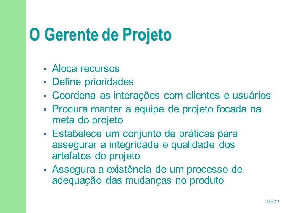10/29 O Gerente de Projeto  Aloca recursos  Define prioridades  Coordena as interações com clientes e usuários  Procura manter a equipe de projeto