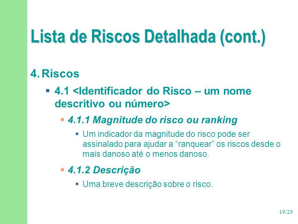 19/29 Lista de Riscos Detalhada (cont.) 4.Riscos  4.1  4.1.1 Magnitude do risco ou ranking  Um indicador da magnitude do risco pode ser assinalado