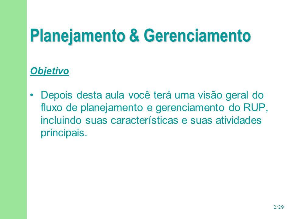 2/29 Planejamento & Gerenciamento Objetivo Depois desta aula você terá uma visão geral do fluxo de planejamento e gerenciamento do RUP, incluindo suas