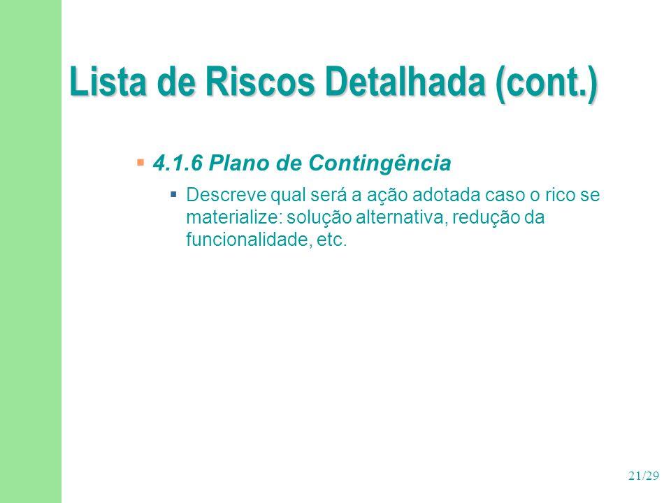 21/29 Lista de Riscos Detalhada (cont.)  4.1.6 Plano de Contingência  Descreve qual será a ação adotada caso o rico se materialize: solução alternat