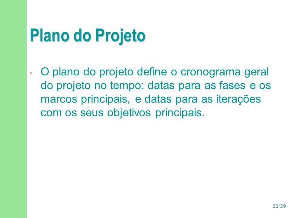 22/29 Plano do Projeto  O plano do projeto define o cronograma geral do projeto no tempo: datas para as fases e os marcos principais, e datas para as
