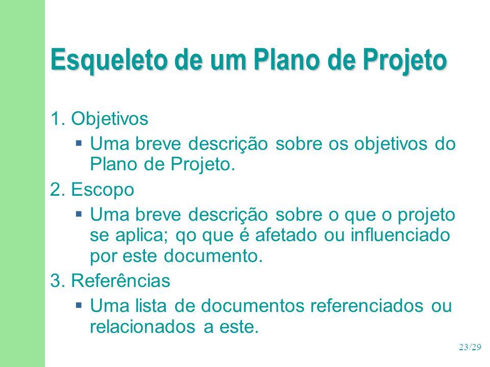 23/29 Esqueleto de um Plano de Projeto 1. Objetivos  Uma breve descrição sobre os objetivos do Plano de Projeto. 2. Escopo  Uma breve descrição sobr