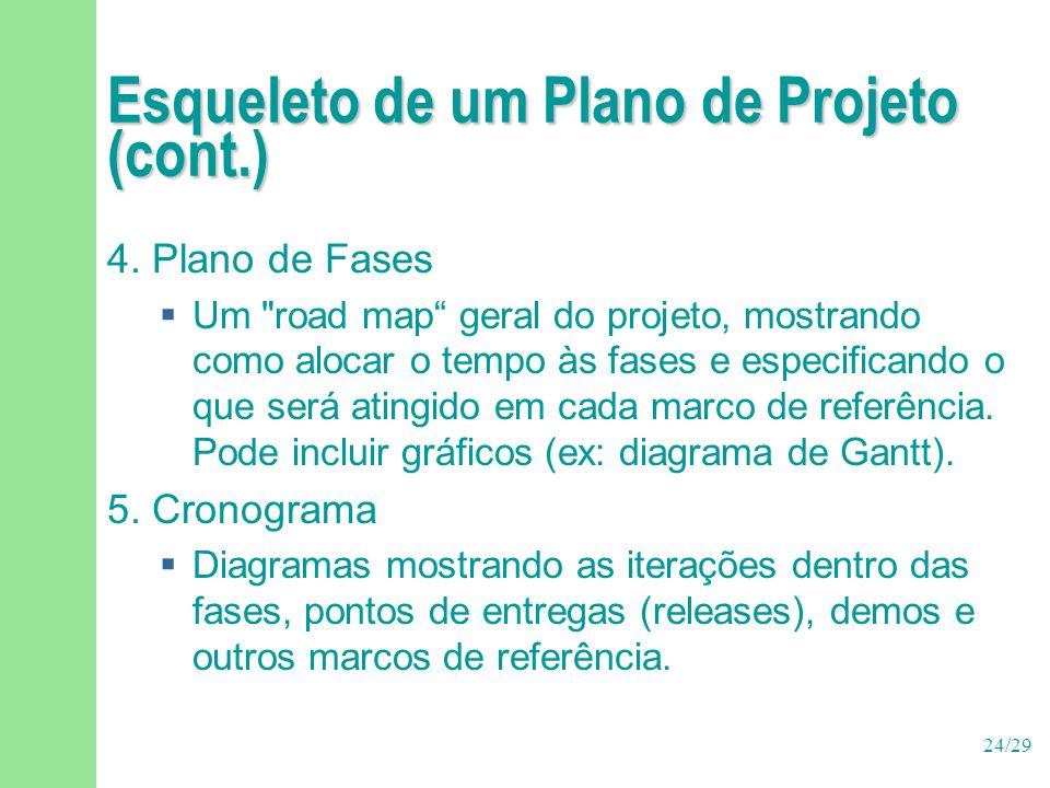 24/29 Esqueleto de um Plano de Projeto (cont.) 4. Plano de Fases  Um