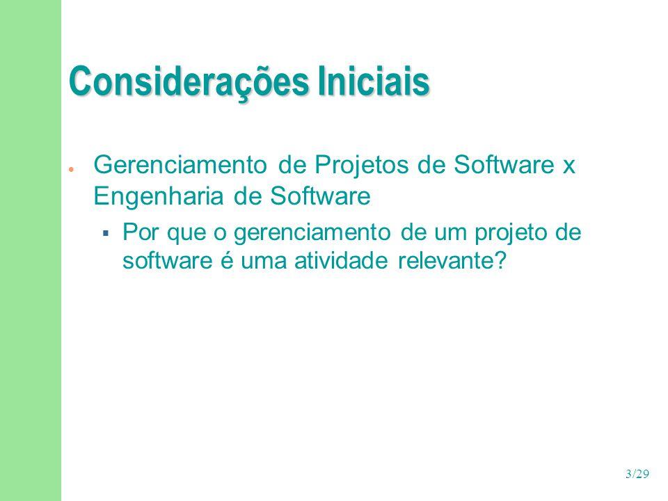 3/29 Considerações Iniciais  Gerenciamento de Projetos de Software x Engenharia de Software  Por que o gerenciamento de um projeto de software é uma