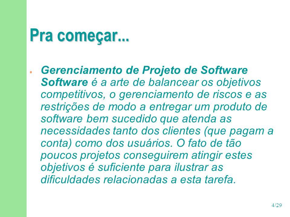 4/29 Pra começar...  Gerenciamento de Projeto de Software Software é a arte de balancear os objetivos competitivos, o gerenciamento de riscos e as re