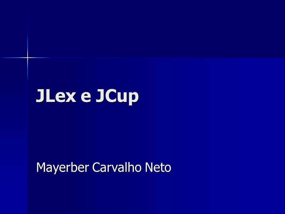 JLex: regras de expressões regulares Formato das regras: Formato das regras: –[ ] { } [ ] – opcional.