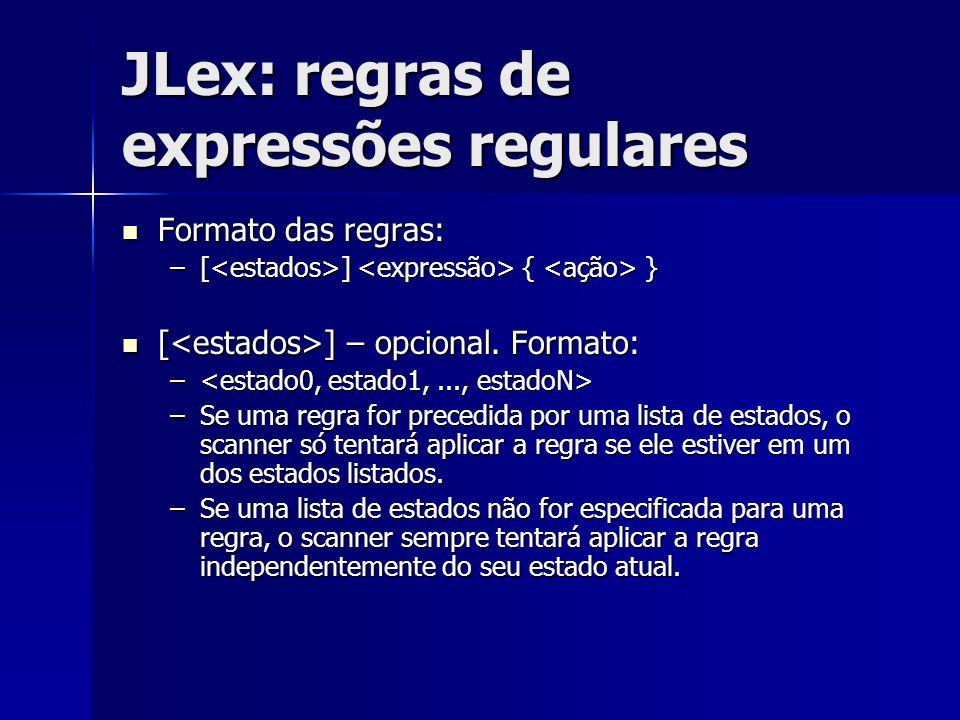 JLex: regras de expressões regulares Formato das regras: Formato das regras: –[ ] { } [ ] – opcional. Formato: [ ] – opcional. Formato: – – –Se uma re