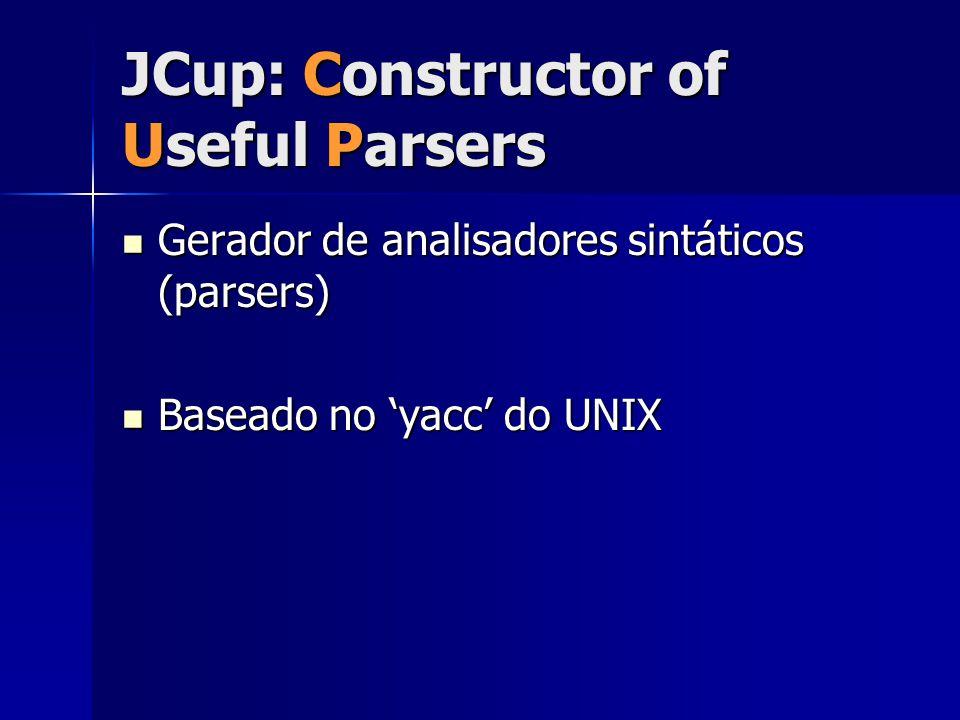 JCup: Constructor of Useful Parsers Gerador de analisadores sintáticos (parsers) Gerador de analisadores sintáticos (parsers) Baseado no 'yacc' do UNI
