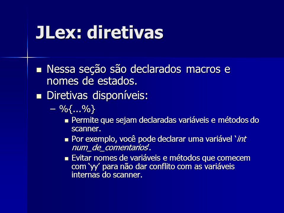 JLex: diretivas Nessa seção são declarados macros e nomes de estados. Nessa seção são declarados macros e nomes de estados. Diretivas disponíveis: Dir