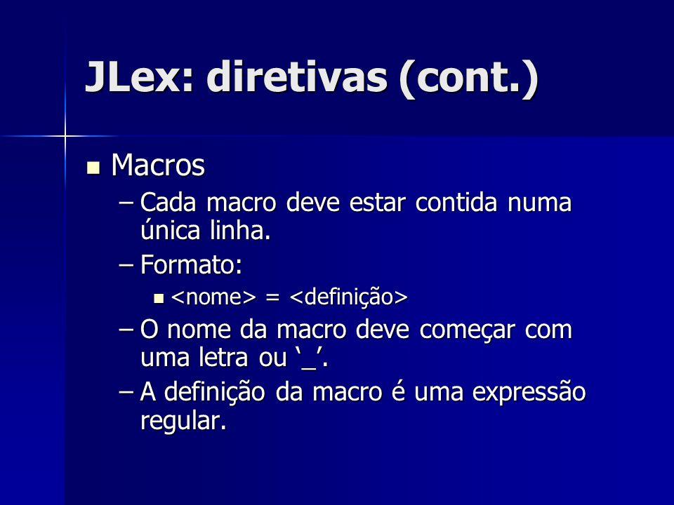 JLex: diretivas (cont.) Macros Macros –Cada macro deve estar contida numa única linha. –Formato: = = –O nome da macro deve começar com uma letra ou '_