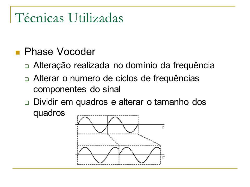 Técnicas Utilizadas Phase Vocoder  Alteração realizada no domínio da frequência  Alterar o numero de ciclos de frequências componentes do sinal  Dividir em quadros e alterar o tamanho dos quadros