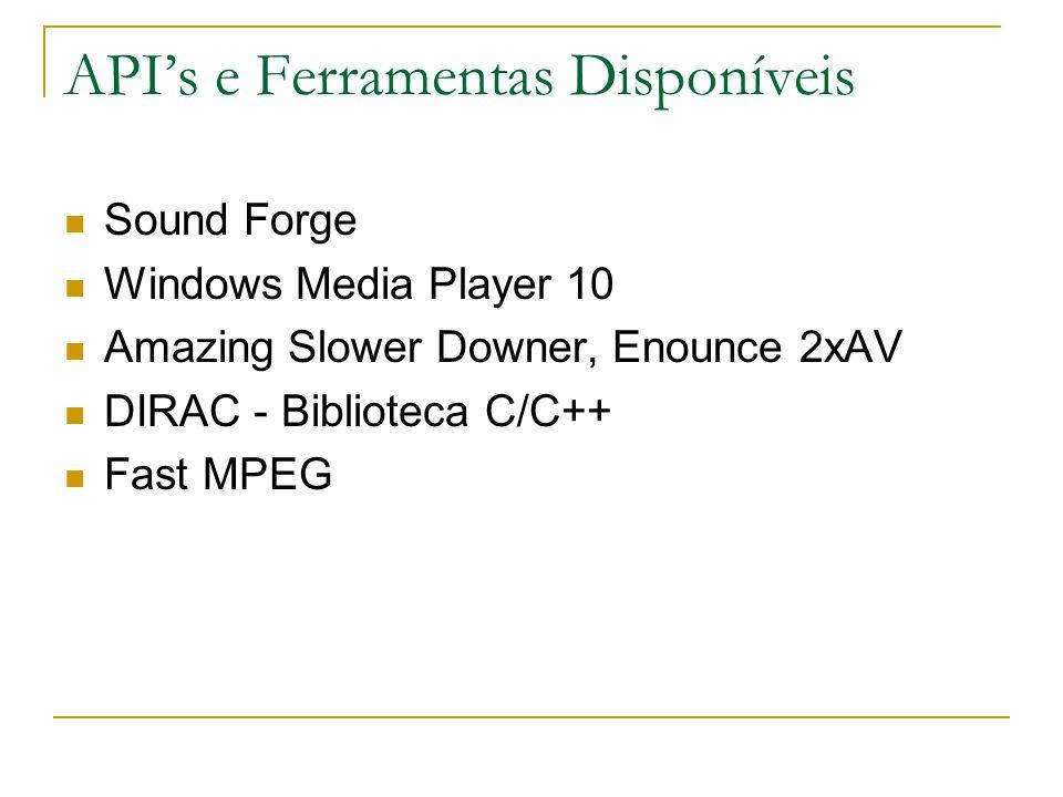 API's e Ferramentas Disponíveis Sound Forge Windows Media Player 10 Amazing Slower Downer, Enounce 2xAV DIRAC - Biblioteca C/C++ Fast MPEG