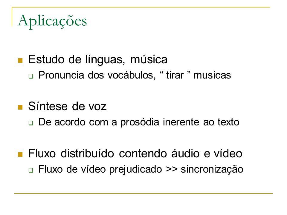 Aplicações Estudo de línguas, música  Pronuncia dos vocábulos, tirar musicas Síntese de voz  De acordo com a prosódia inerente ao texto Fluxo distribuído contendo áudio e vídeo  Fluxo de vídeo prejudicado >> sincronização