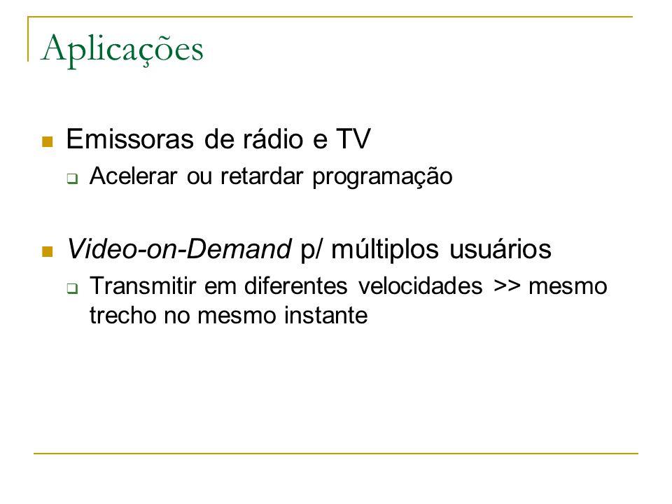 Aplicações Emissoras de rádio e TV  Acelerar ou retardar programação Video-on-Demand p/ múltiplos usuários  Transmitir em diferentes velocidades >> mesmo trecho no mesmo instante