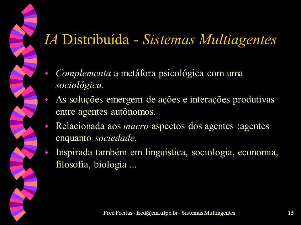 Fred Freitas - fred@cin.ufpe.br - Sistemas Multiagentes14 IA Clássica w Metáfora psicológica: uma pessoa ou entidade resolve o problema. w Inteligênci