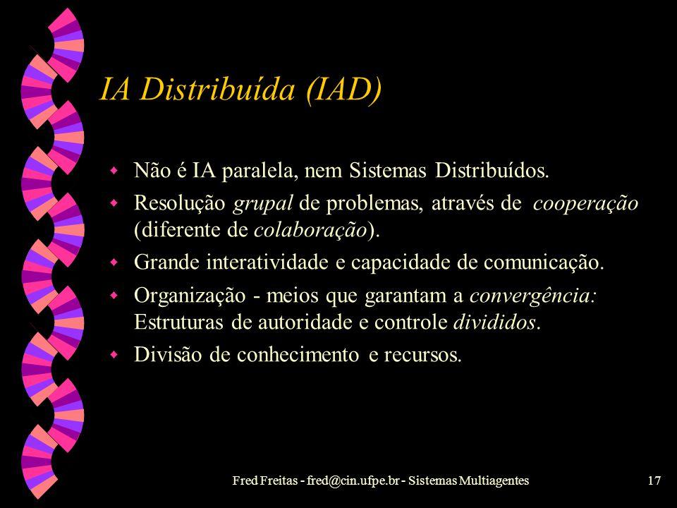 Fred Freitas - fred@cin.ufpe.br - Sistemas Multiagentes16 IA e SD w Resolução de Problemas w Aprendizado Simbólico Conexionista w Dedução e inferência