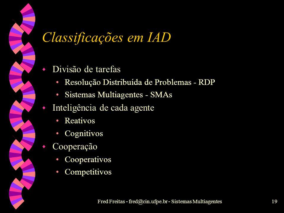 Fred Freitas - fred@cin.ufpe.br - Sistemas Multiagentes18 Motivações de Multiagentes w Avanços científicos: grandes redes heterogêneas abertas, concor
