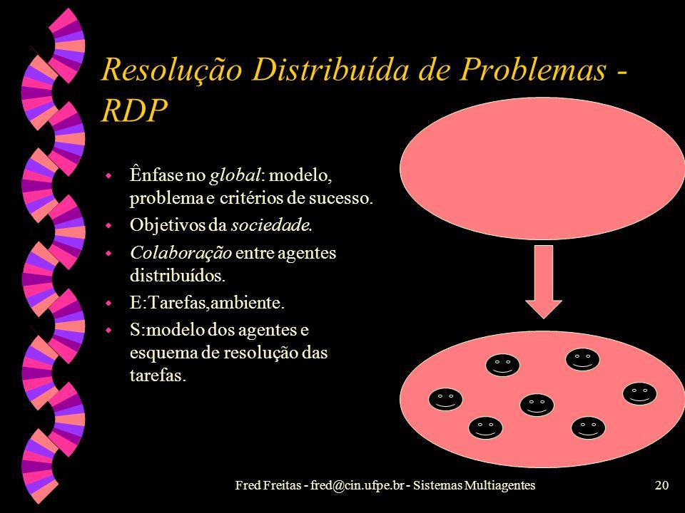 Fred Freitas - fred@cin.ufpe.br - Sistemas Multiagentes19 Classificações em IAD w Divisão de tarefas Resolução Distribuída de Problemas - RDP Sistemas