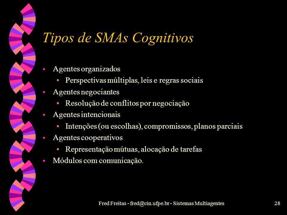Fred Freitas - fred@cin.ufpe.br - Sistemas Multiagentes27 Eco-resolução w Solução é um estado estável de comportamentos. w Eco-agentes possuem : Objet